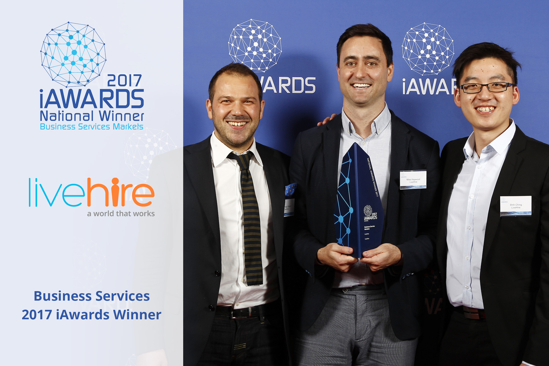 LiveHire wins National Award for Business Services @ 2017 iAwards.