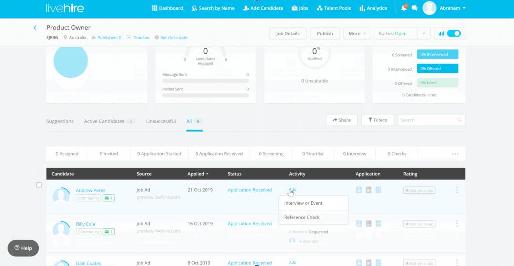 LiveHire Xref in-platform integration